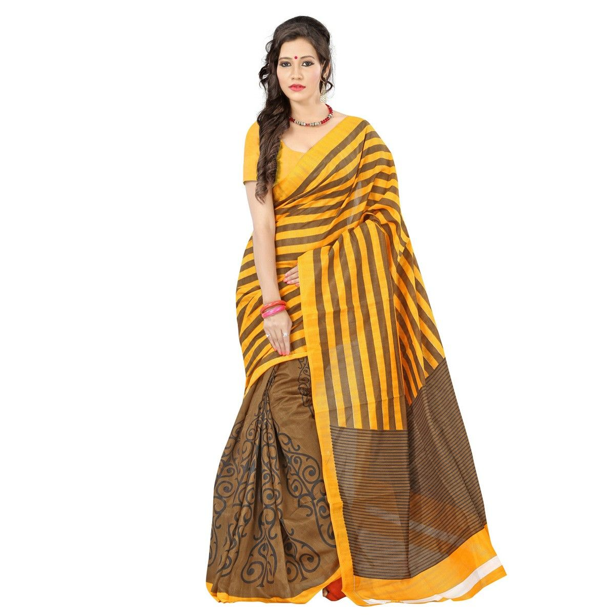 Bhagalpuri Silk Printed Brown & Yellow Half & Half Saree - 1788 at Rs 499