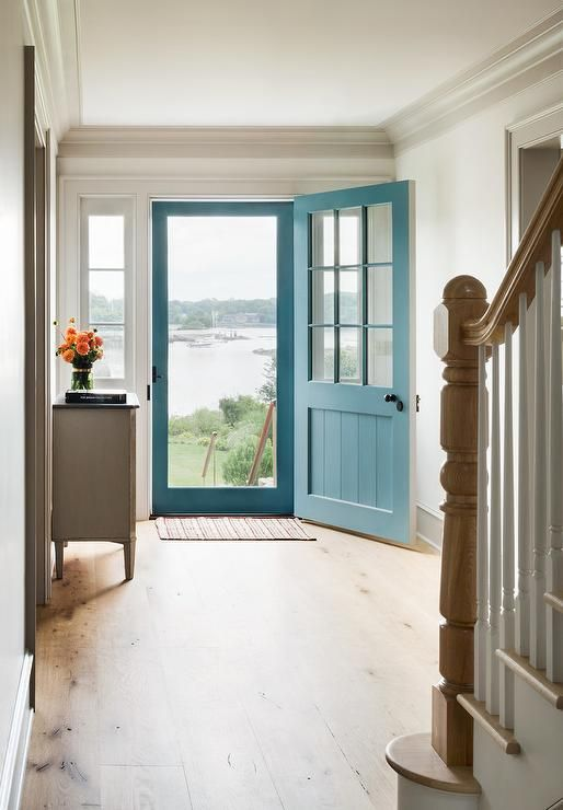 Blue Front Door With Blue Screen Door Cottage Entrancefoyer