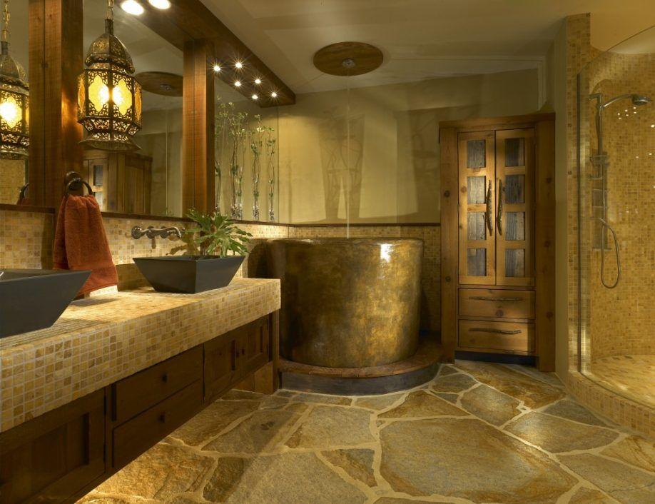 Bathroom Black Vessel Sinks Also Cool Vanity Pendant Light Feat Rustic Flagstone Flooring Design