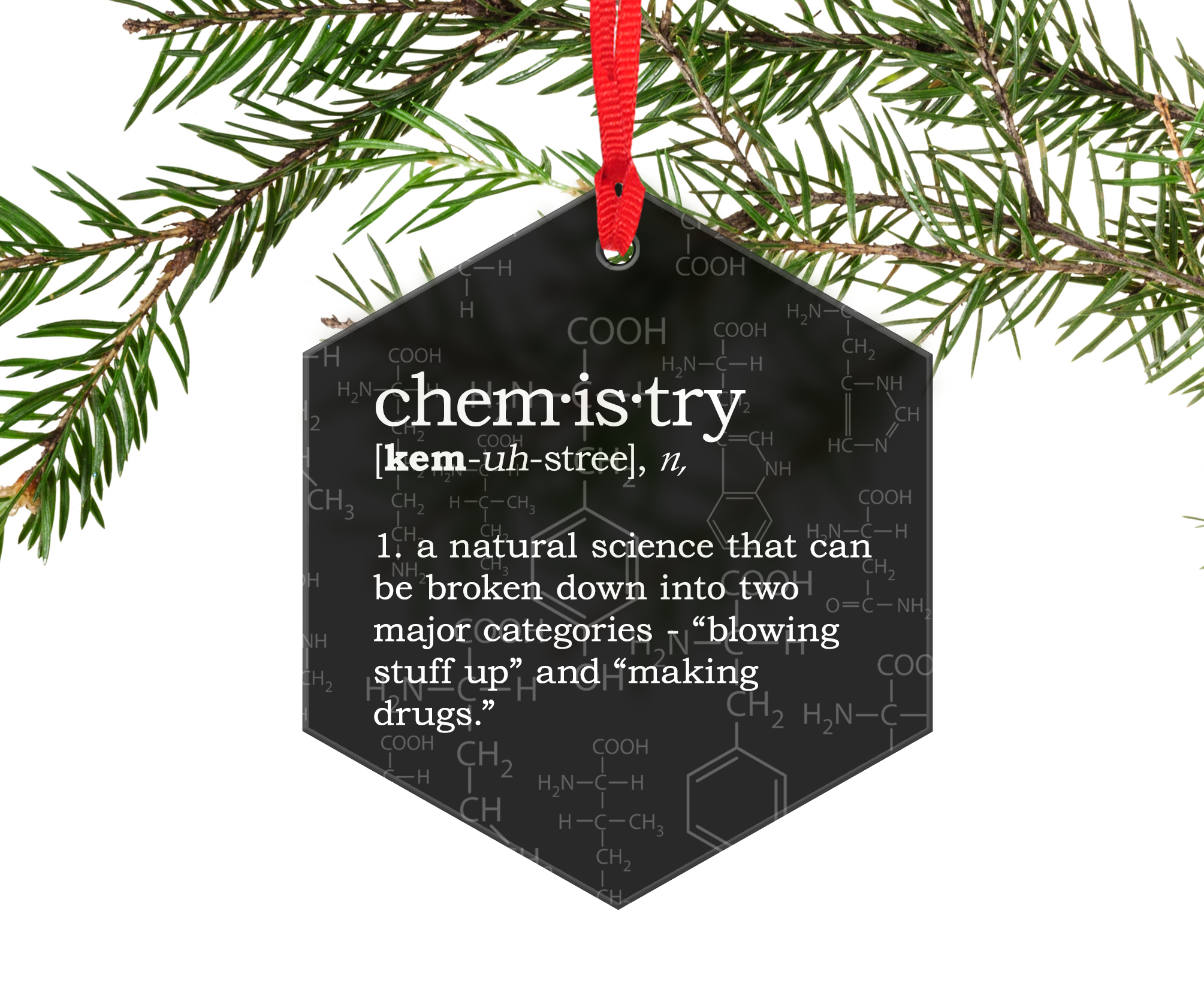 Chemistry Definition Funny Glass Christmas Ornament Chemistry