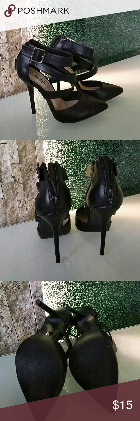 """Synthetic black heels Never worn 4.5"""" heels Deb Shoes Heels"""