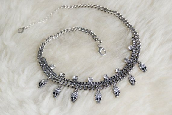 Delicate Skull Choker Necklace by FeatheredOutlaw on Etsy