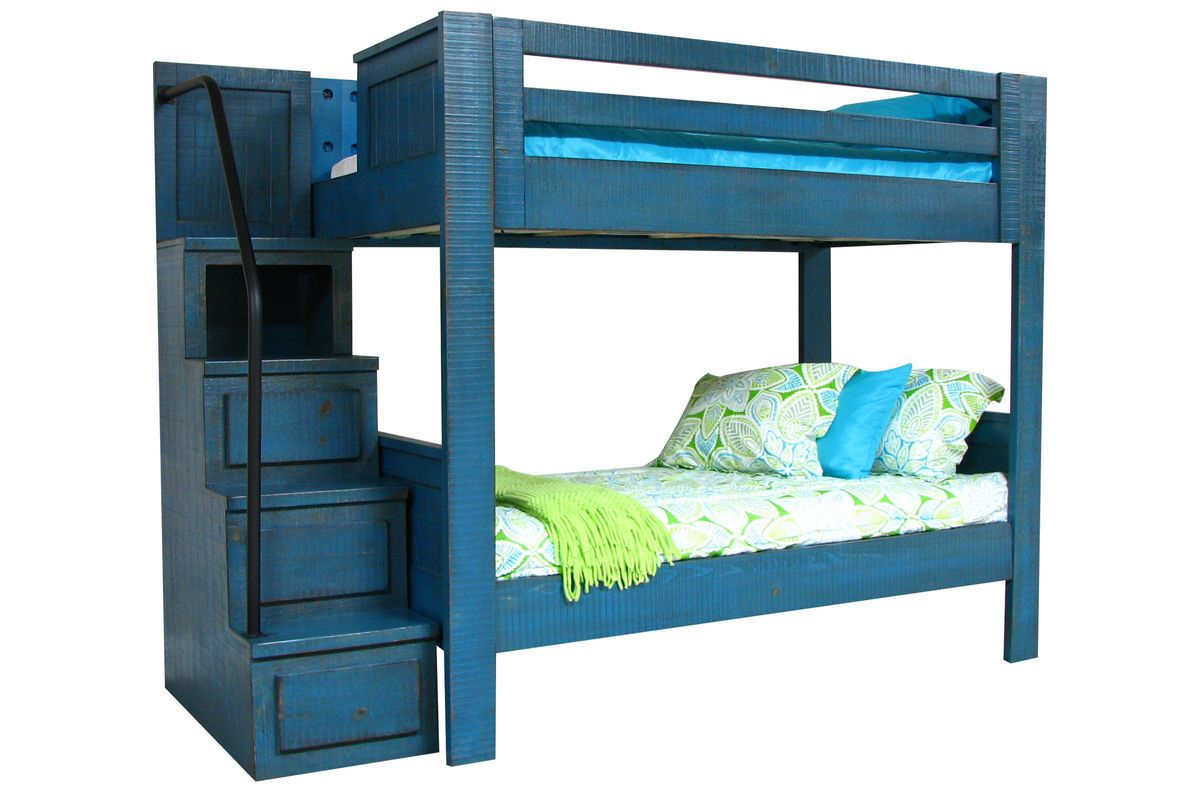 blue twin over twin bunk bed with staircase bunk bed white