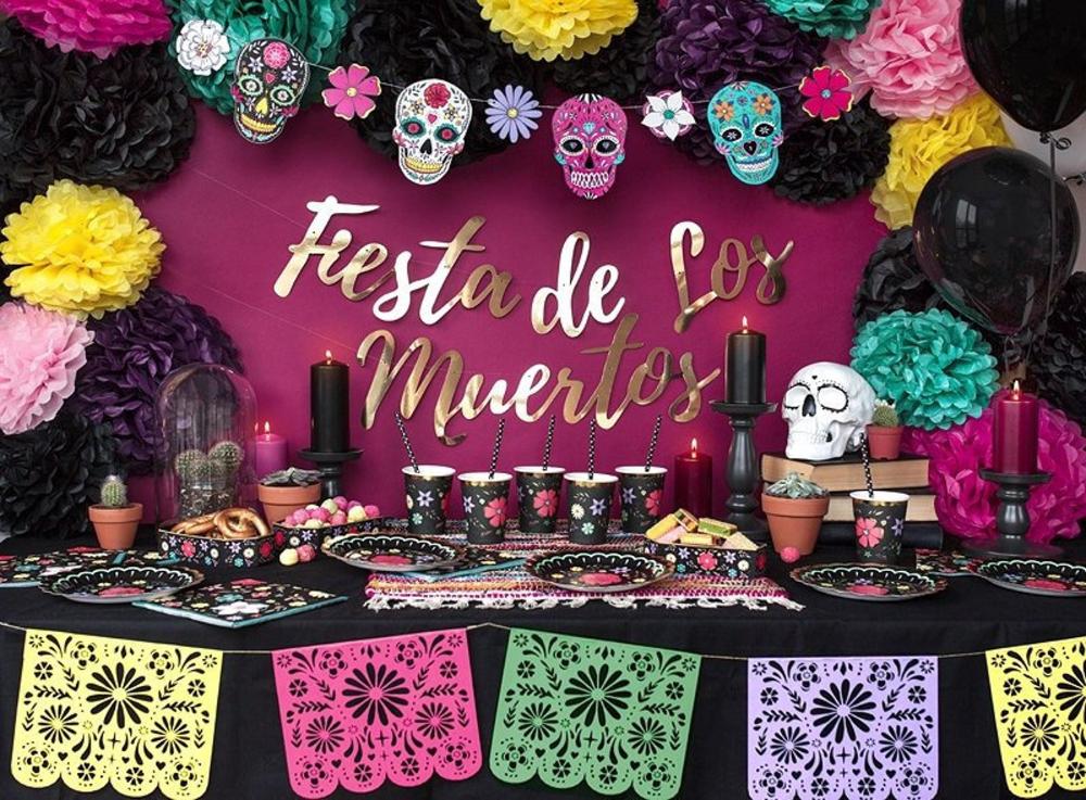 Fiesta de Los Muertos Banner Halloween Party Decor Day of the Dead Garland Halloween Party Banner Birthday Party Decorations