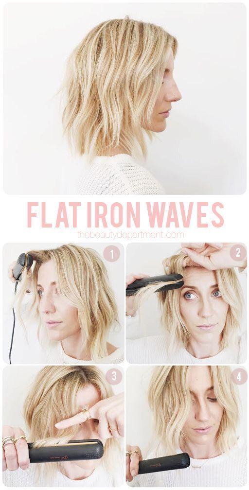 how-to flat iron waves hair tutorial | frisuren, bob