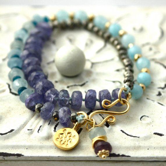 Aquamarine Tanzanite and Pyrite Wrap Bracelet by LaliJewelryShop   https://www.etsy.com/listing/156621330/aquamarine-tanzanite-and-pyrite-wrap?ref=listing-shop-header-3