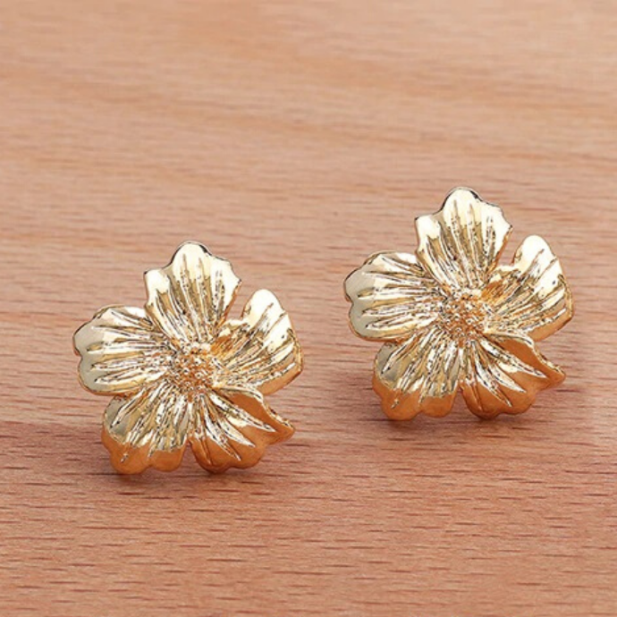 Vibrant Flower Earrings Gold Hibiscus In 2020 Women S Jewelry And Accessories Art Nouveau Jewelry Cute Jewelry