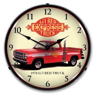 1978 Dodge Lil Red Express Truck Backlit Clock Red Truck Classic Pickup Trucks Wall Clock Light