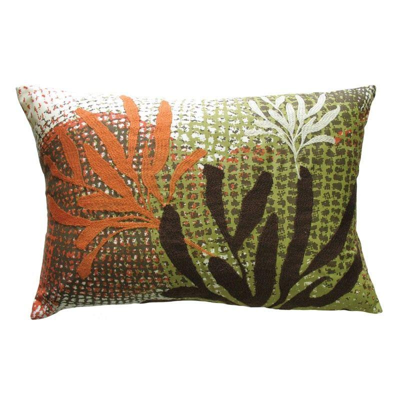 rust and sage rectangular throw pillow