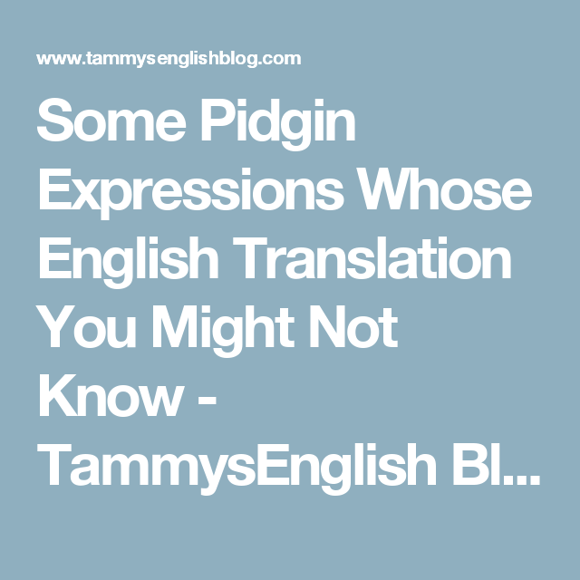 Some Pidgin Expressions Whose English Translation You Might Not Know  Some Pidgin Expressions Whose English Translation You Might Not Know   Tammysenglish Blog  Articles English Learning Essay Writing Literature  Books