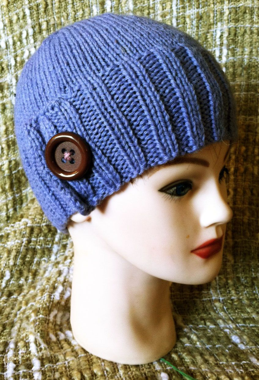 Knit button hat, purple ribbed. $25.00, via Etsy.