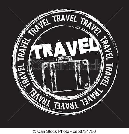 Vector - estampilla, viaje - stock de ilustracion,   Travel...