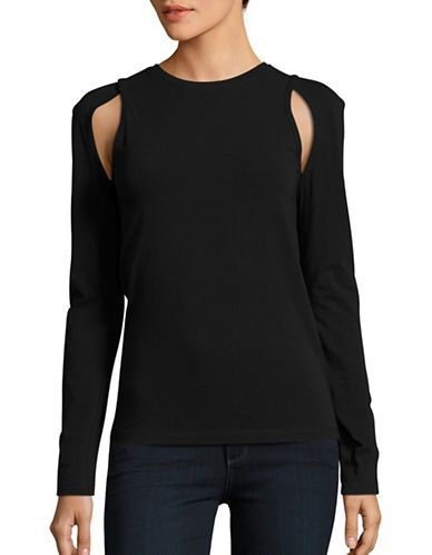 Dkny Solid Cotton Blend Top Women's Black Large