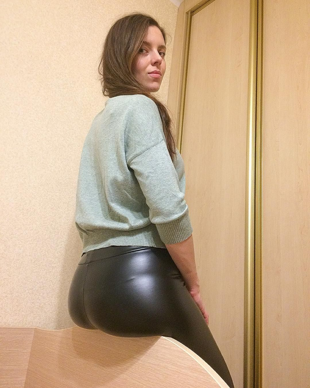 shiny pants butt leather Amateur
