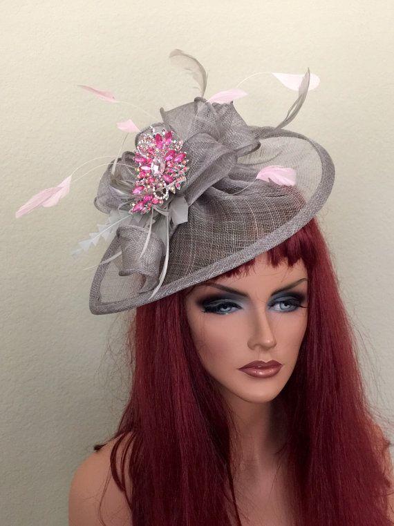 Gray Pink Fascinator Hat Races Sheer Sinamay by jeniferbuckley