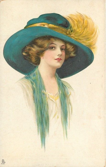 lady facing right in cream dress, blue throw, dark blue hat with yellow hat-band  feathers