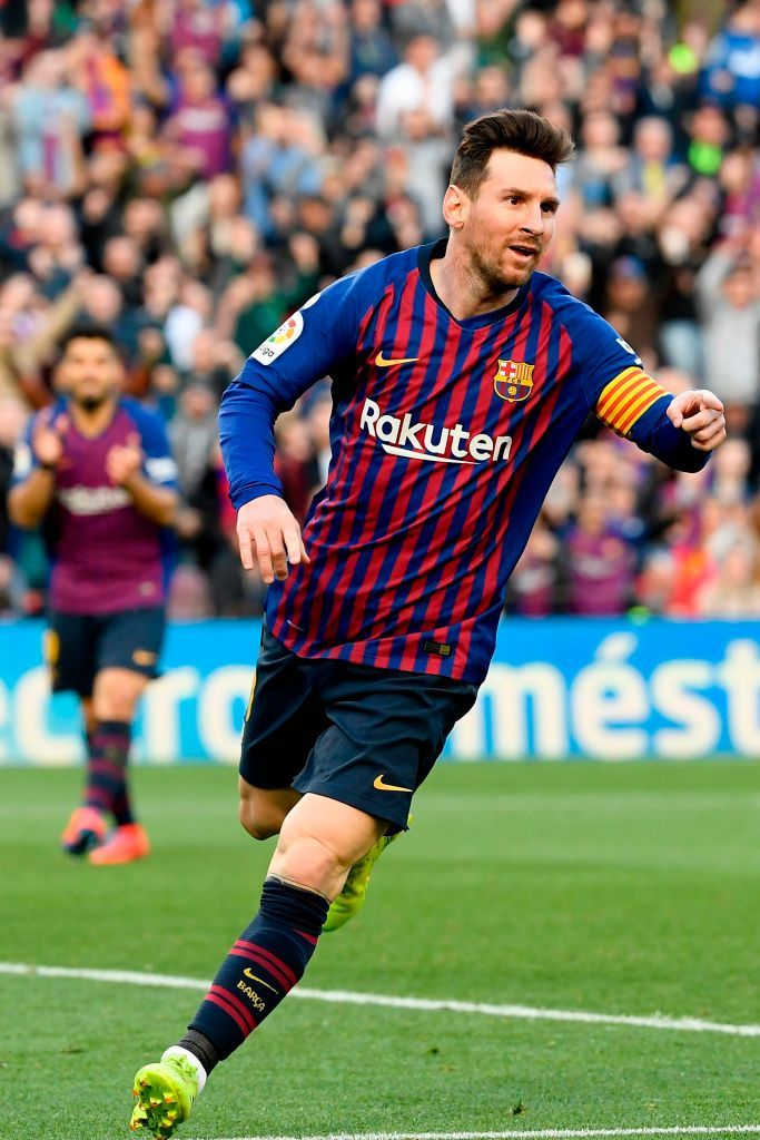 Barcelona S Argentinian Forward Lionel Messi Celebrates After Scoring A Second Goal During The Spanish League Footbal Lionel Messi Lionel Messi Barcelona Messi
