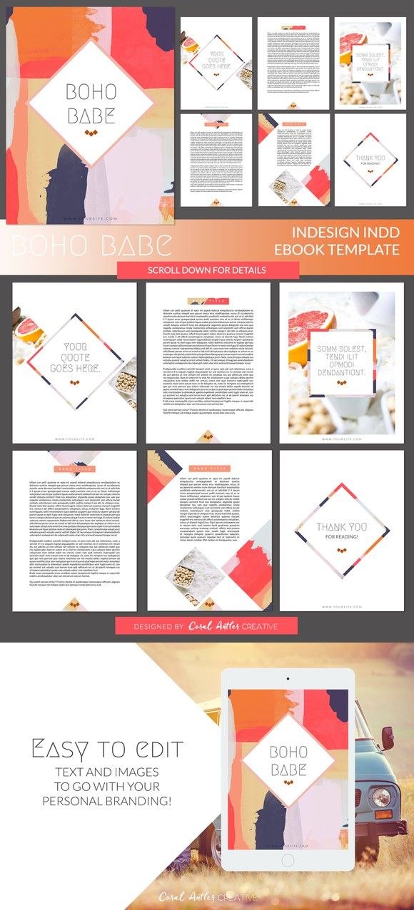 Boho Babe InDesign Ebook Template | Template, Presentation templates ...