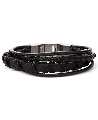 Fossil Men S Bracelet Black Leather Multi Wrap Fashion Bracelets Jewelry Watches Macy