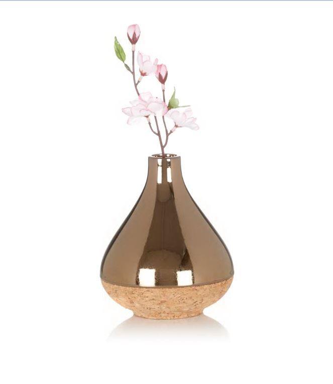 Tropfenförmige Vase, das untere Drittel ist aus Kork. #Deko #Vase #Bloomingville #Impressionenversand
