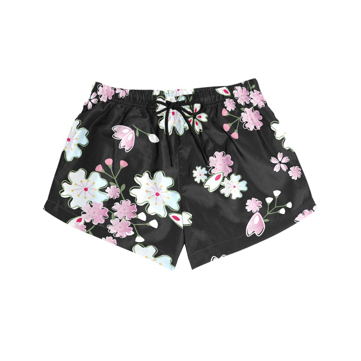 Womens Beach Shorts Floral Swim Trunk with Pockets