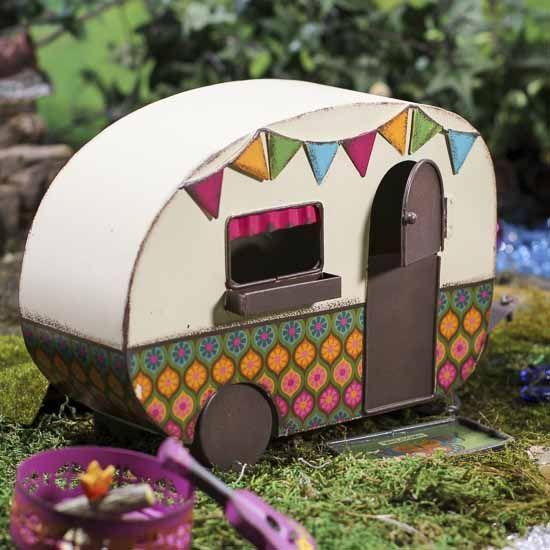 Vintage Inspired Fairy Garden Camper Gardens Dollhouse