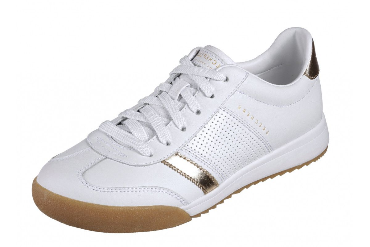 c1944819 Skechers Street Zinger Flicker White Gold Womens Leather Trainers ...
