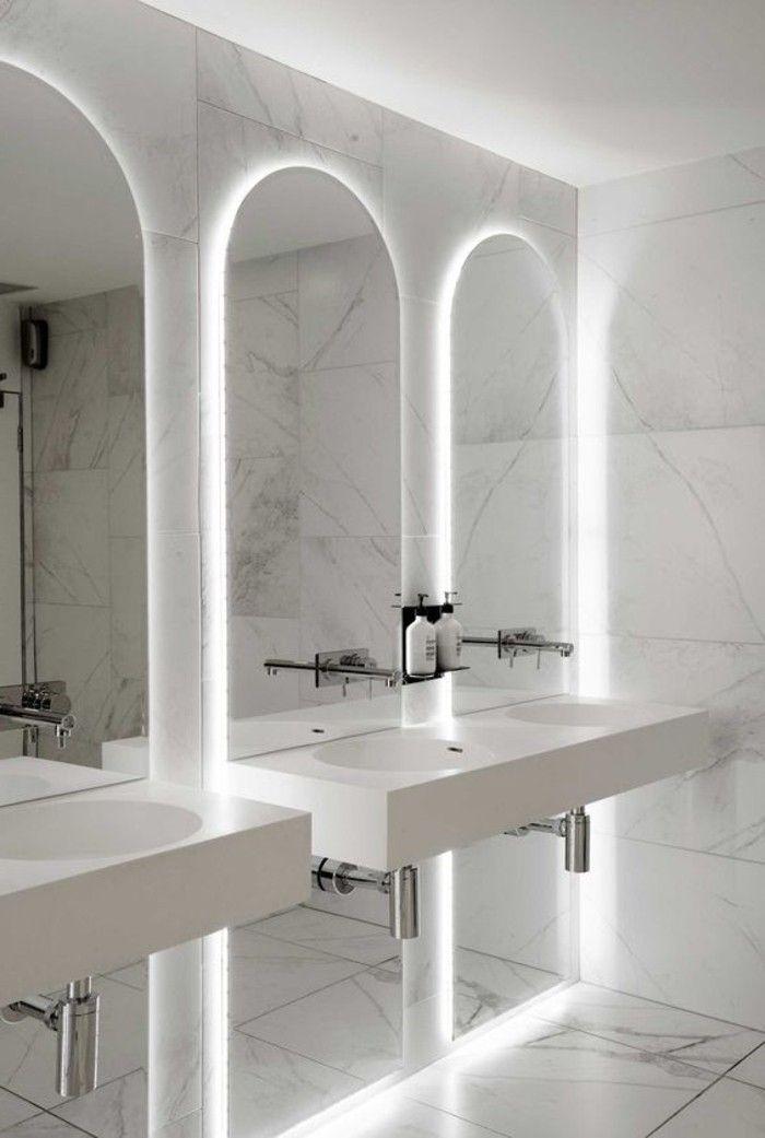 o trouver le meilleur miroir de salle de bain avec clairage salles de bains en marbre blanc. Black Bedroom Furniture Sets. Home Design Ideas
