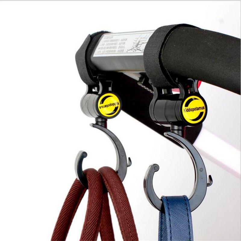 2Pcs Baby Stroller Pushchair Hanger Hooks and Bike Rotatable Bottle Holder