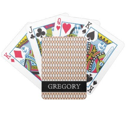 #rustic - #Rustic Beige and Gray Diamond Shape Pattern  Name Bicycle Playing Cards