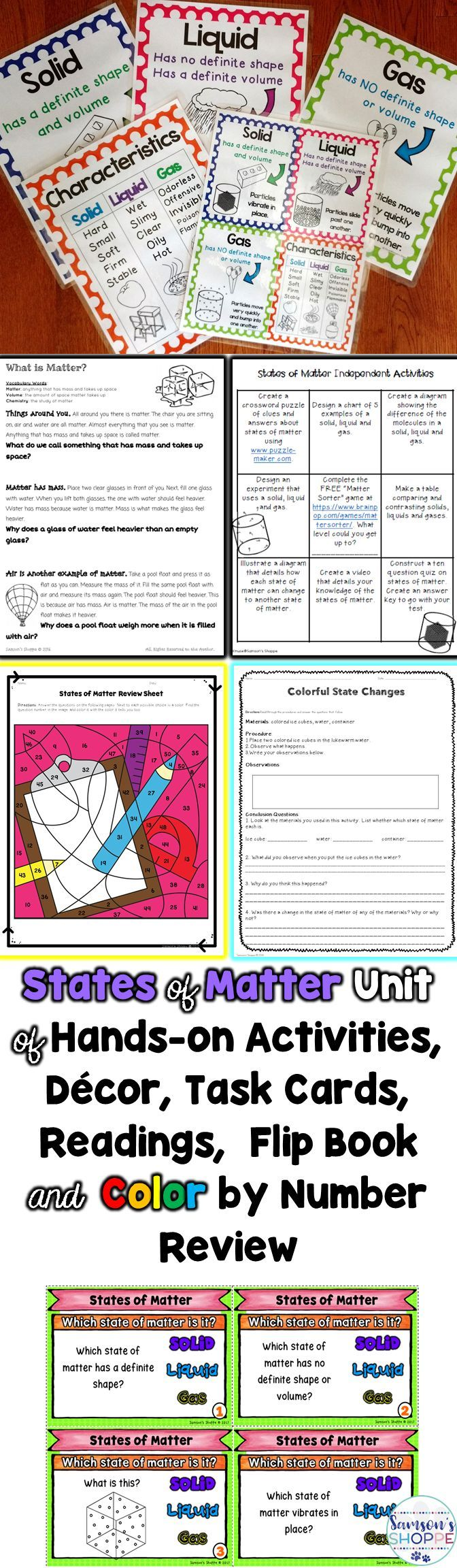 States Of Matter Solid Liquid Gas Unit Of Nonfiction And Hands On