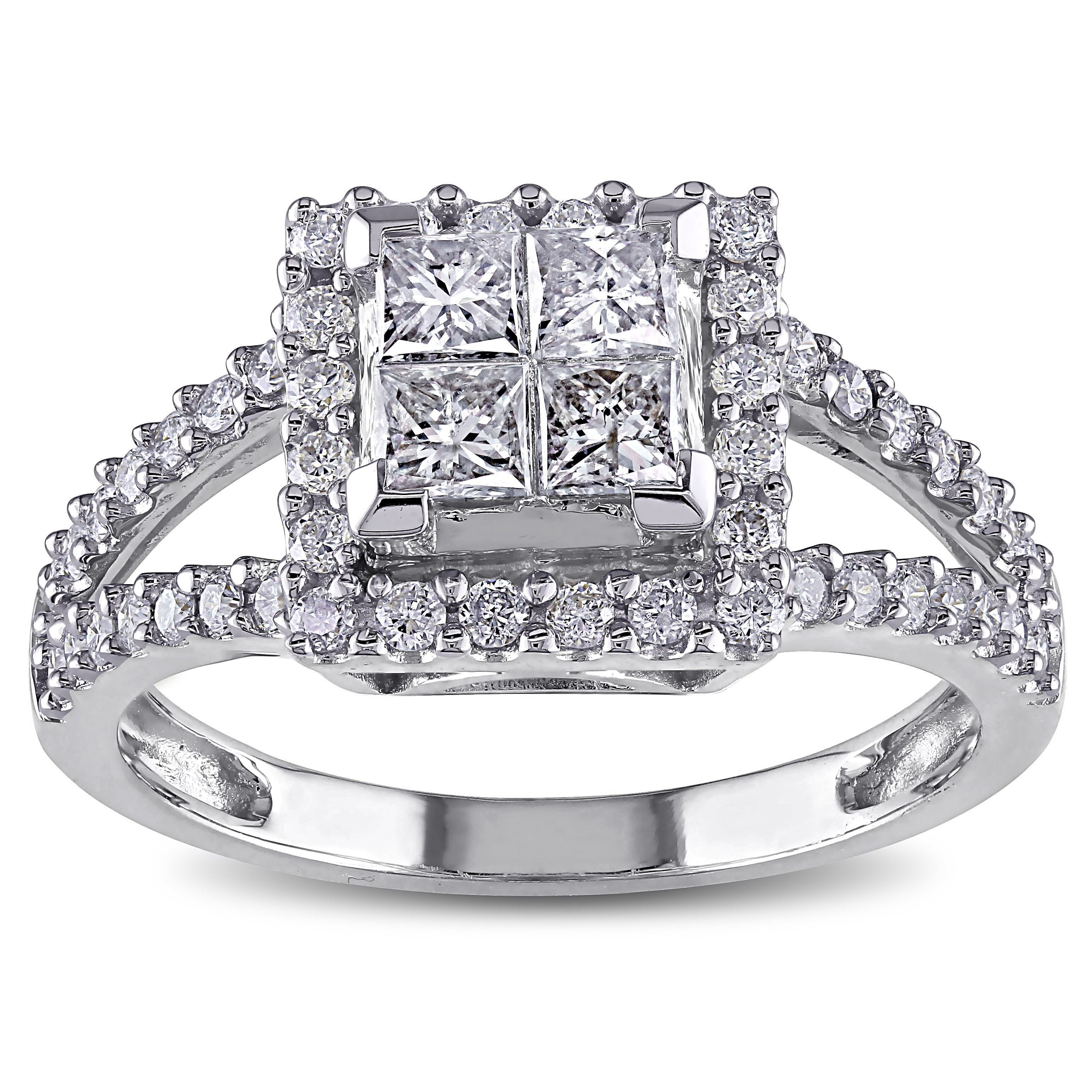 Miadora Signature Collection 14k White Gold 1ct TDW Diamond Princess Cut Halo Engagement Ring (H-I, I2-I3) (Size 4.5), Women's