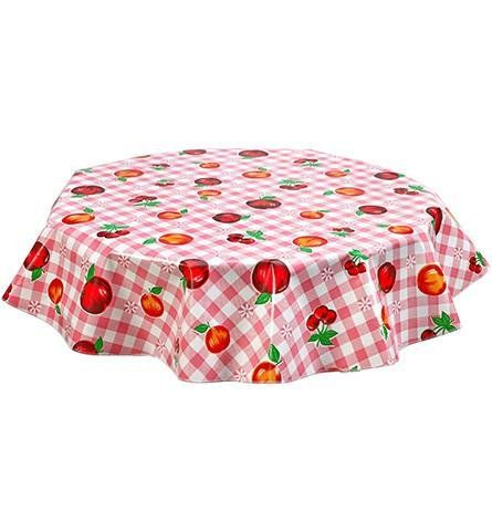 Round Freckled Sage Oilcloth Tablecloth In Fruit An Gingham Pink   You Pick  The Size!