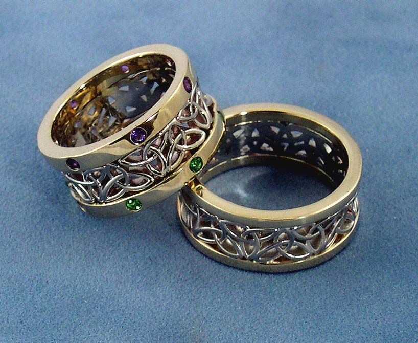 two tone wedding bands for him and her custom wedding bandscustom celtic wedding