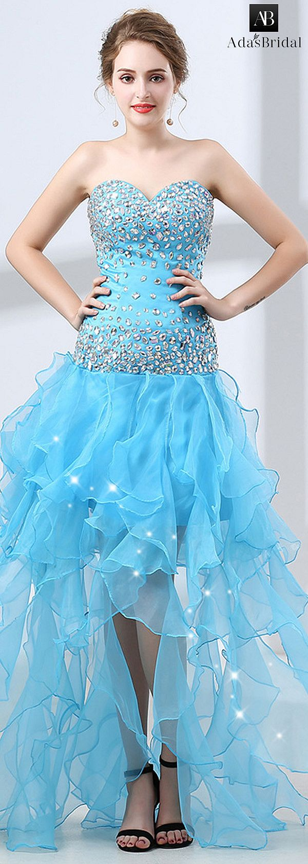Modest diamond tulle sweetheart neckline aline prom dress with