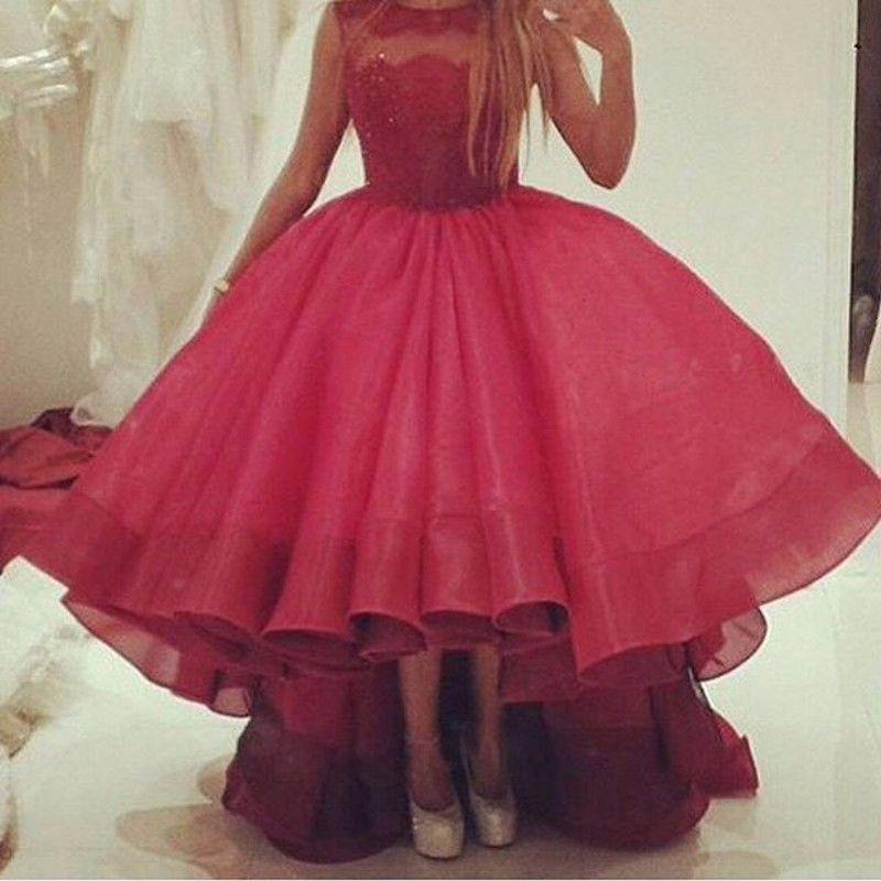 Burgundy Prom Dress Short Front Long Back Vestido Longo   Prom Dress ...