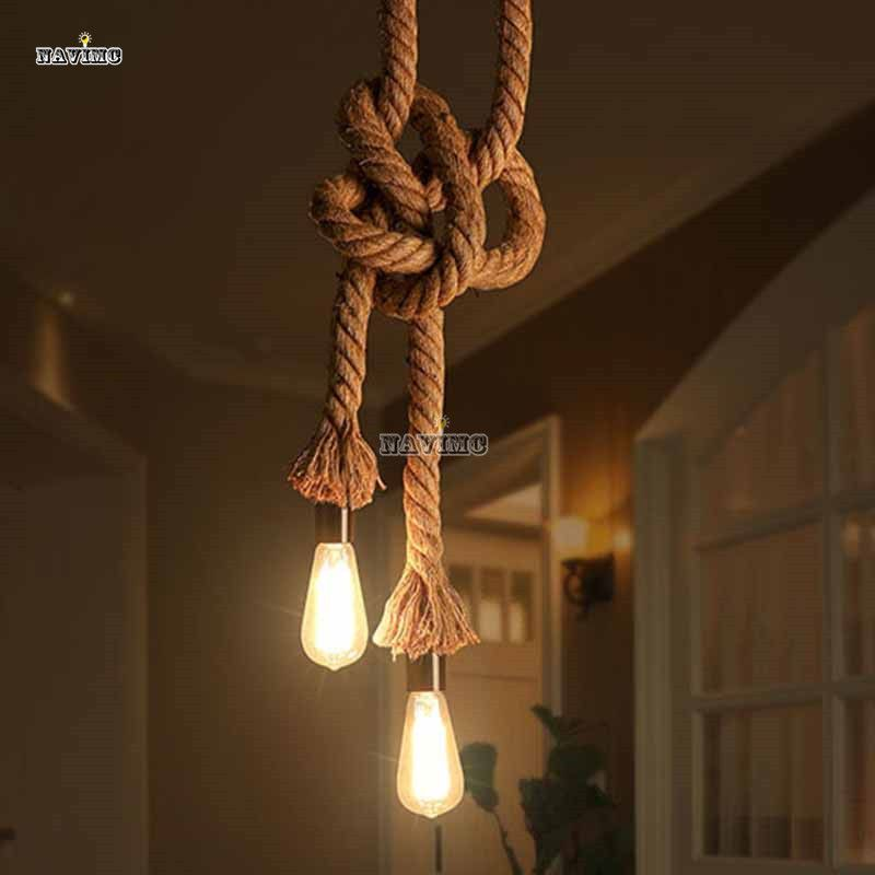 Retro Vintage Rope Pendant Light Lamp Loft Creative Industrial