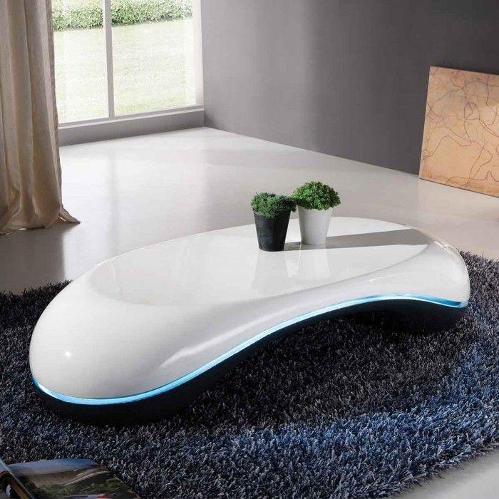 Table Basse Design Avec Led Galet Grise Blanche Atylia Bon Shopping Com Table Basse Design Table Basse Meuble Rangement Salon
