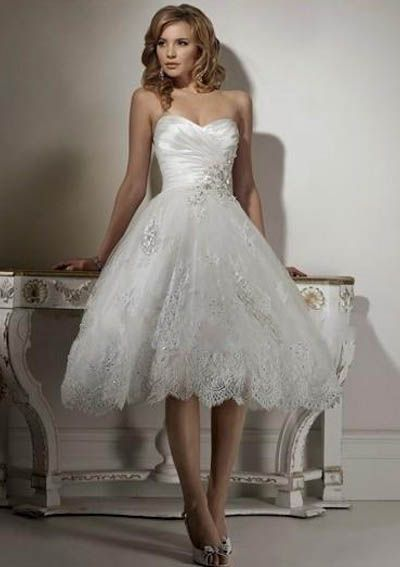 Organza Strapless Sweetheart Neckline with Rouched Bodice in Short A line 2011 Tea length Wedding Dress WM-0405 2011000834, Inexpensive Prom Dresses, Sale Wedding Dress