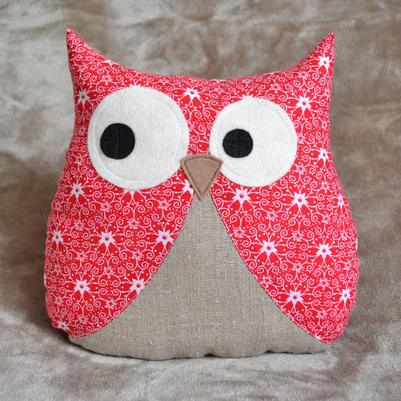 coussin hibou de no l en coton rouge blanc et lin couture pinterest coton rouge et no l. Black Bedroom Furniture Sets. Home Design Ideas