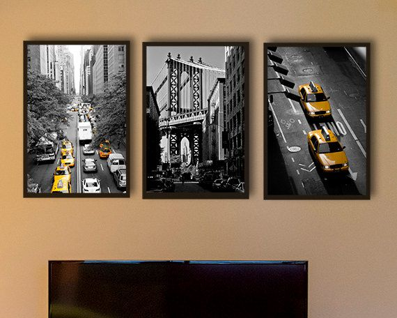 New York Photography Black And White Photography Nyc Art Yellow