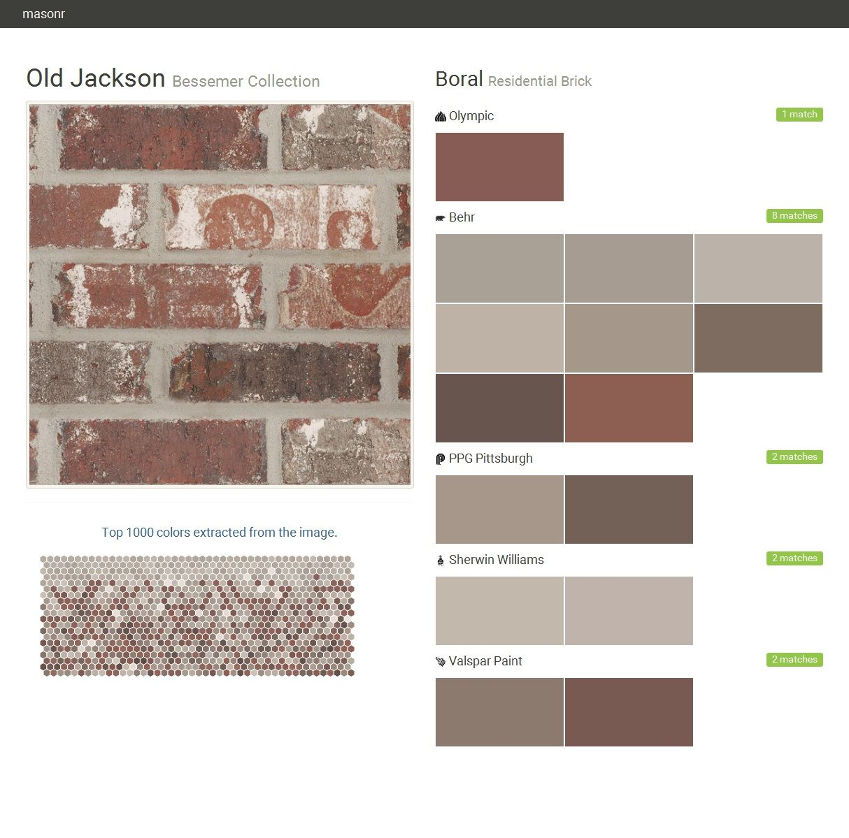Old jackson bessemer collection residential brick boral behr olympic ppg paints sherwin - Breathable exterior masonry paint collection ...