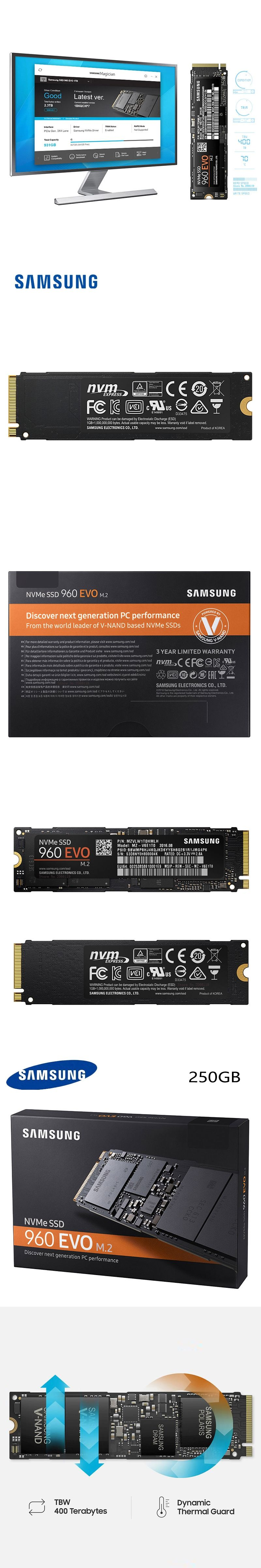 Samsung 960 Evo 250gb Nvme M2 Ssd Solid State Hard Disk Mz