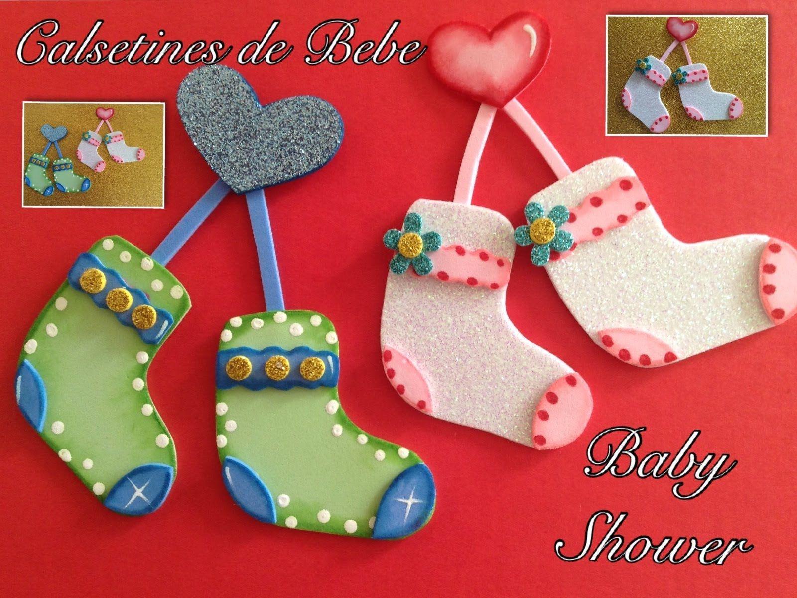 Calcetines de bebe para baby shower hechos con foamy - Ideas para baby shower de nino ...