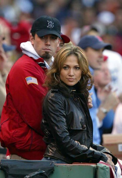c4ad9a98fe4bcd Actress/singer Jennifer Lopez and boyfriend, actor Ben Affleck watch the New  York Yankees take on the Boston Red Sox during Game 3 of the 2003 American  ...