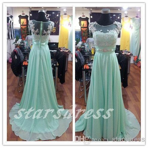 Mint Full Sleeve Prom Dresses