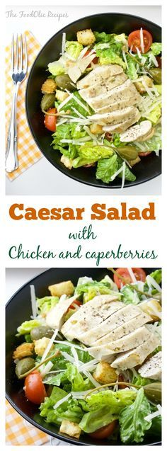 Caesar Salad with Chicken and Caperberries is an healthier version from the traditional dish. Few few extra cherry tomatoes and deliciously homemade garlic crouton. #recipe #salad #caesar #health #lunch