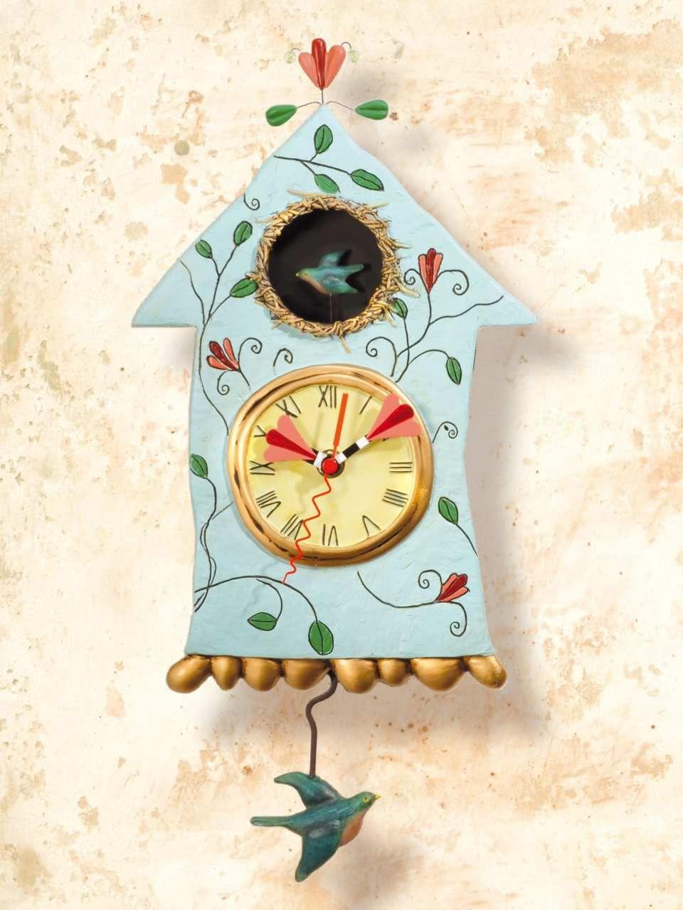 wanduhr vogel mit pendel f r k che und wohnung die. Black Bedroom Furniture Sets. Home Design Ideas