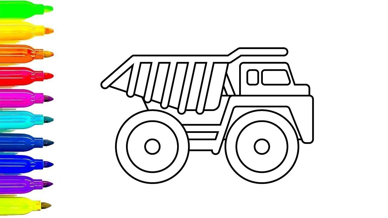 Learn Colors With Dump Truck Coloring Pages Construction Colourin