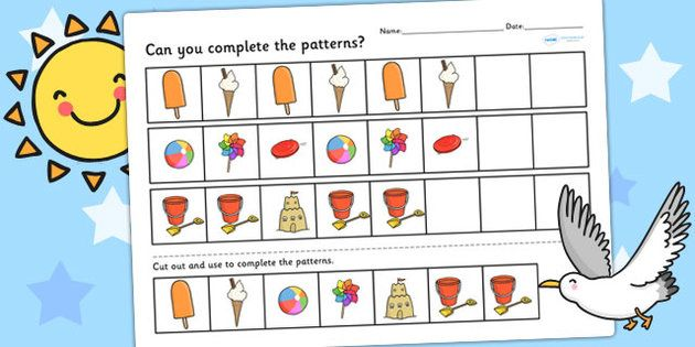Seaside Themed Complete the Pattern Worksheet $ | maths- patterns ...